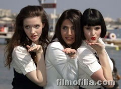 Gemma Arterton (right) with former Bond girl Caterina Murino (center).