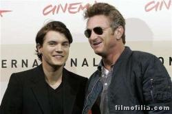 Movie director Sean Penn poses with actor Emile Hirsh
