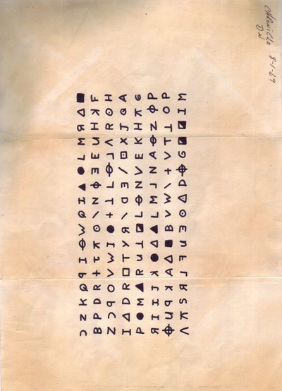 Zodiac - letter with a cipher