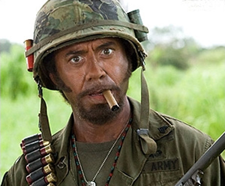 "Robert Downey Jr. as Kirk Lazarus in ""Tropic Thunder"""