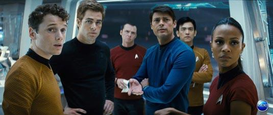The crew of the USS Enterprise - From left to right Chekov (Anton Yelchin), James T. Kirk (Chris Pine), Scottie (Simon Pegg), Dr. McCoy (Karl Urban) , Sulu (John Cho) and Uhura (Zoe Saldana). – From UGO