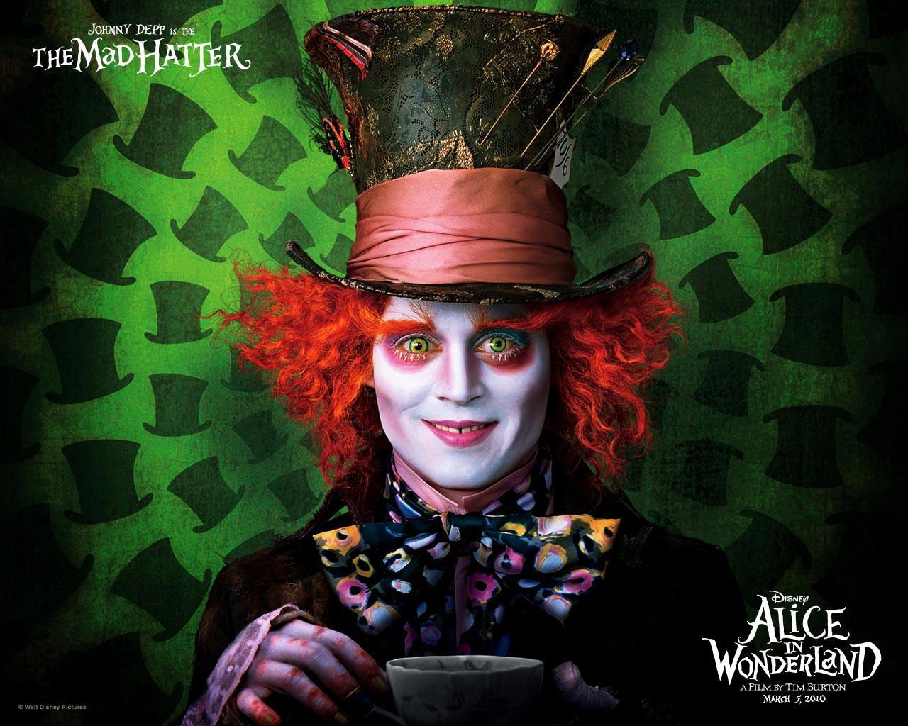 Johnny Depp as Mad Hatter, Alice in Wonderland Wallpaper