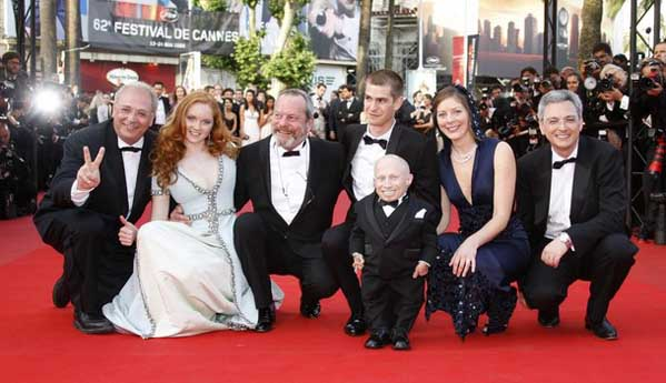 Verne Troyer, Lily Cole, Terry Gilliam, Andrew Garfield, Amy Gilliam At Cannes Film Festival
