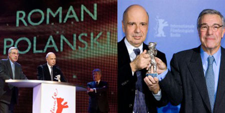 Alain Sarde and Robert Benmussa accepted the Silver Bear for Roman Polanski's The Ghost Writer