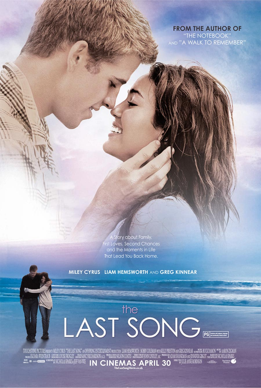 last song Don't think of the last song as a miley cyrus movie think of it as a nicholas  sparks chick flick he's the novelist/screenwriter who has given.