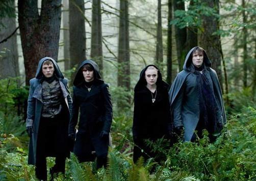 Charlie Bewley, Cameron Bright, Dakota Fanning and Daniel Cudmore in The Twilight Saga's Eclipse