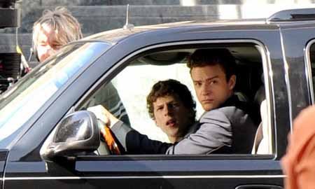 Justin Timberlake and Jesse-Eisenberg in The Social Network