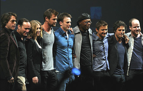 The Avengers cast with director Joss Whedon
