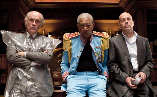 Red - John Malkovich (Marvin Boggs), Bruce Willis (Frank Moses) and Morgan Freeman (Joe Matheson)