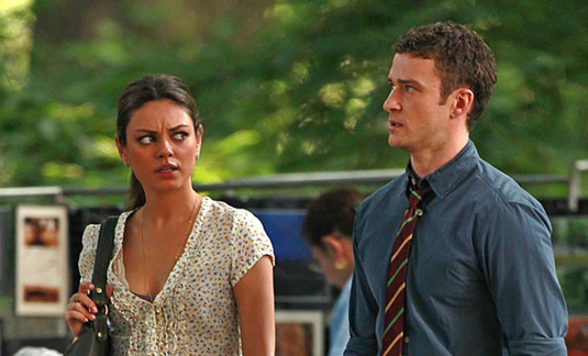 Mila Kunis and Justin Timberlake on set of Friends with Benefits