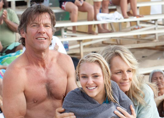 Dennis Quaid, AnnaSophia Robb as Bethany Hamilton and Helen Hunt in SOUL SURFER