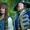 Captain Jack Sparrow (Johnny Depp) and Captain Barbossa (Geoffrey Rush) in Pirates of the Caribbean 4