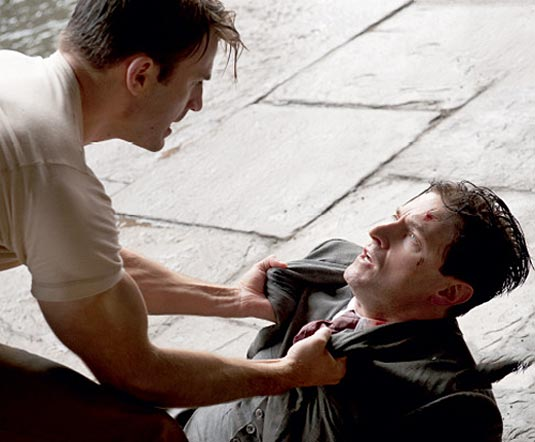 Captain America (Chris Evans) and Heinz Kruger (Richard Armitage) in Captain America: The First Avenger