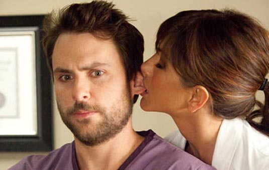 Charlie Day and Jennifer Aniston in Horrible Bosses
