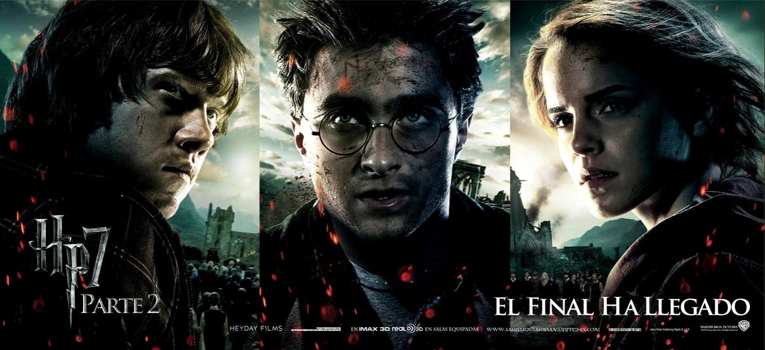 Daniel Radcliffe as Harry Potter, Emma Watson as Hermione Granger and Rupert Grint as Ron Weasley