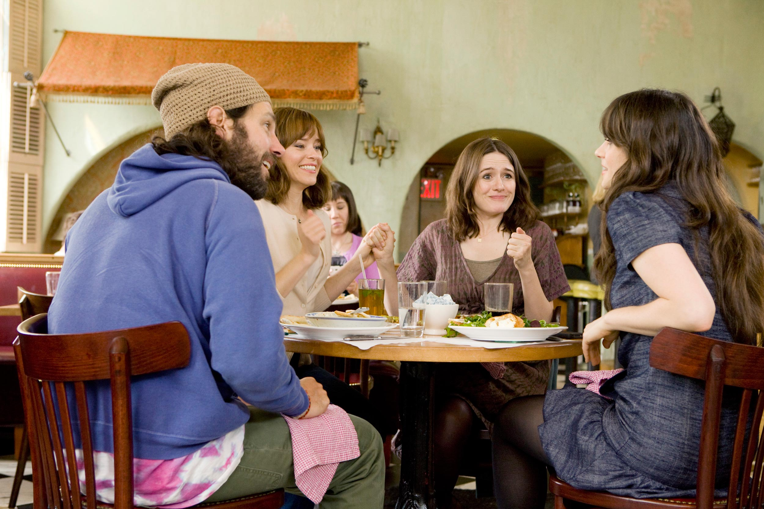 Elizabeth Banks, Zooey Deschanel, Emily Mortimer and Paul Rudd in Our Idiot Brother