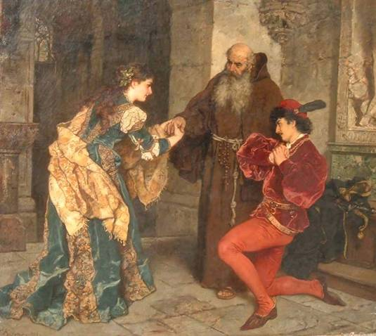 Romeo and Juliet before Father Lawrence - Karl Ludwig Friedrich Becker