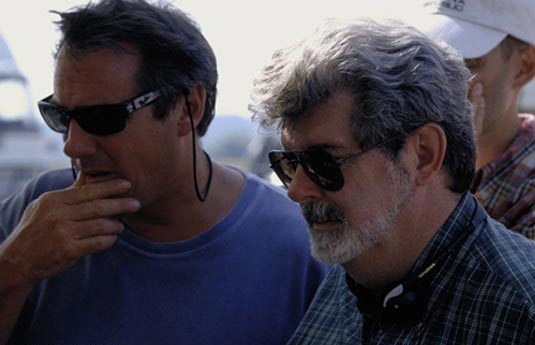 Rick McCallum and George Lucas on the set of The Phantom Menace
