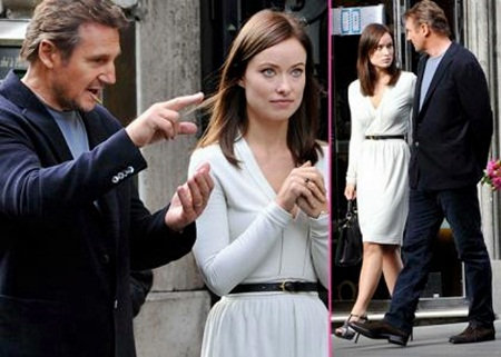 Olivia Wilde - Liam Neeson - On the Third Person Set
