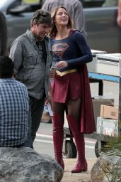 SUPERGIRL Set Photos in Los Angeles - Melissa Benoist
